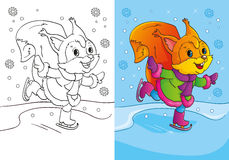 Livro para colorir de patins bonitos do esquilo dos desenhos animados Ilustração Royalty Free