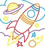 Livro para colorir de Rocket On Cosmic Imagem de Stock Royalty Free