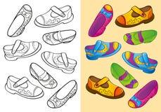 Livro para colorir de sapatas de Dfferent do grupo Ilustração Royalty Free