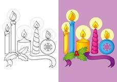 Livro para colorir de velas diferentes do Natal Ilustração do Vetor