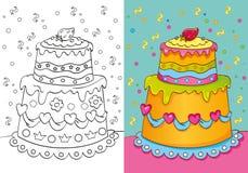 Livro para colorir do bolo com decoração Ilustração do Vetor