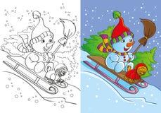 Livro para colorir do boneco de neve com passeios do cão Ilustração Royalty Free