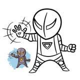 Livro para colorir do ferro do menino do super-herói Caráter cômico isolado no fundo branco ilustração stock