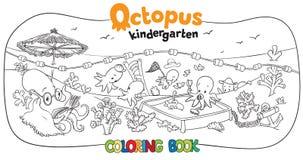 Livro para colorir do jardim de infância do polvo Imagens de Stock
