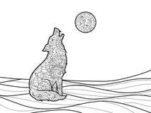 Livro para colorir do lobo para o vetor dos adultos ilustração royalty free