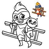 Livro para colorir do menino do super-herói Caráter cômico isolado no fundo branco ilustração do vetor