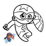 Livro para colorir do menino do super-herói Caráter cômico isolado no fundo branco ilustração royalty free