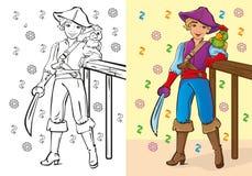 Livro para colorir do menino no traje do pirata Ilustração do Vetor