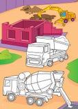 Livro para colorir do misturador, do caminhão e da máquina escavadora de cimento Ilustração do Vetor