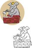Livro para colorir do PEDREIRO do ELEFANTE Imagem de Stock