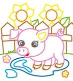 Livro para colorir do porco perto dos girassóis Fotos de Stock Royalty Free
