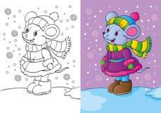 Livro para colorir do rato vestido na roupa do inverno Ilustração Stock