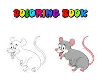 Livro para colorir do roedor do gambá dos desenhos animados isolado no backgroun branco ilustração stock