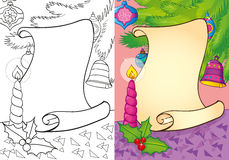 Livro para colorir do rolo do Natal com vela Ilustração Stock