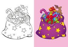 Livro para colorir do saco do Natal com brinquedos Ilustração Royalty Free