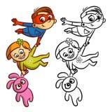 Livro para colorir do salvador do menino do voo do super-herói Caráter cômico isolado no fundo branco ilustração stock