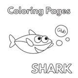 Livro para colorir do tubarão dos desenhos animados Foto de Stock