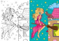 Livro para colorir do voo bonito da bruxa no cabo de vassoura Ilustração do Vetor