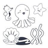 Livro para colorir dos caráteres do mar Fotografia de Stock