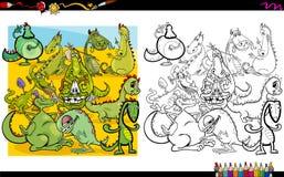 Livro para colorir dos caráteres do dragão Fotografia de Stock Royalty Free