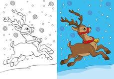 Livro para colorir dos cervos do Natal que correm na neve Ilustração Royalty Free