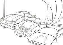 Livro para colorir dos desenhos animados das crianças para meninos Ilustração do vetor - garagem com carros Imagem de Stock
