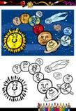 Livro para colorir dos desenhos animados do sistema solar Fotografia de Stock