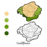 Livro para colorir: frutas e legumes (couve-flor) ilustração stock