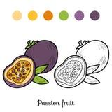 Livro para colorir: frutas e legumes (fruto de paixão) Fotografia de Stock Royalty Free