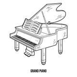 Livro para colorir: instrumentos musicais (piano de cauda) ilustração royalty free