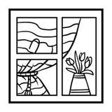 Livro para colorir, janela com cortinas e flores ilustração royalty free