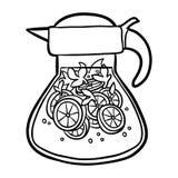 Livro para colorir, jarro de limonada ilustração royalty free