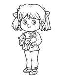 Livro para colorir, menina com um urso de peluche ilustração stock