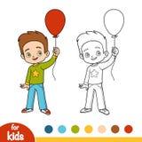 Livro para colorir, menino e balão ilustração do vetor
