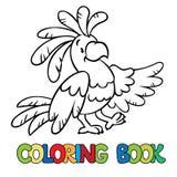 Livro para colorir ou imagem da coloração do papagaio engraçado Fotos de Stock