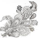 livro para colorir para adultos, o ramo das flores Fotografia de Stock Royalty Free