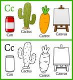 Livro para colorir para crianças - alfabeto C ilustração stock