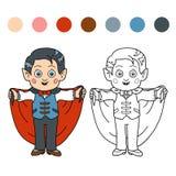 Livro para colorir para crianças: Caráteres de Dia das Bruxas (vampiro) Fotos de Stock Royalty Free