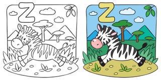 Livro para colorir pequeno da zebra Alfabeto Z Fotografia de Stock Royalty Free