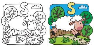 Livro para colorir pequeno dos carneiros Alfabeto S Fotos de Stock