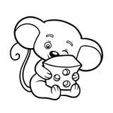 Livro para colorir, rato ilustração do vetor