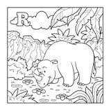 Livro para colorir (rinoceronte), alfabeto incolor para crianças: letra R Imagens de Stock Royalty Free