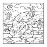 Livro para colorir (serpente), ilustração incolor (letra S) Imagens de Stock