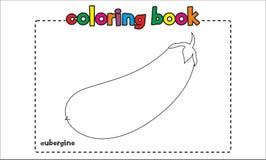 Livro para colorir simples da beringela para crianças e crianças Fotos de Stock Royalty Free