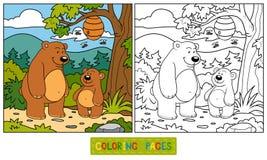Livro para colorir (ursos) ilustração do vetor