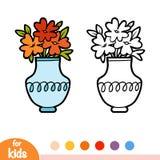 Livro para colorir, vaso e flores ilustração do vetor
