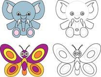 Livro para miúdos - borboleta da página da coloração do elefante Foto de Stock Royalty Free