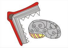 Livro que come um cérebro Imagens de Stock