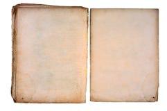 Livro torned velho aberto em ambas as páginas em branco. Foto de Stock Royalty Free