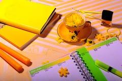 Livros amarelos, penas, velas, verniz para as unhas imagens de stock royalty free